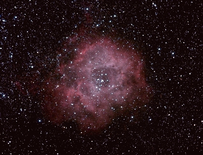 NGC2237 Rosette neb; mag 5.2; size 29'; exp 39 min (47x50sec); Canon 200mm f/2.8 lens; ISO 1600; IDAS; 1-22-09; Coyle